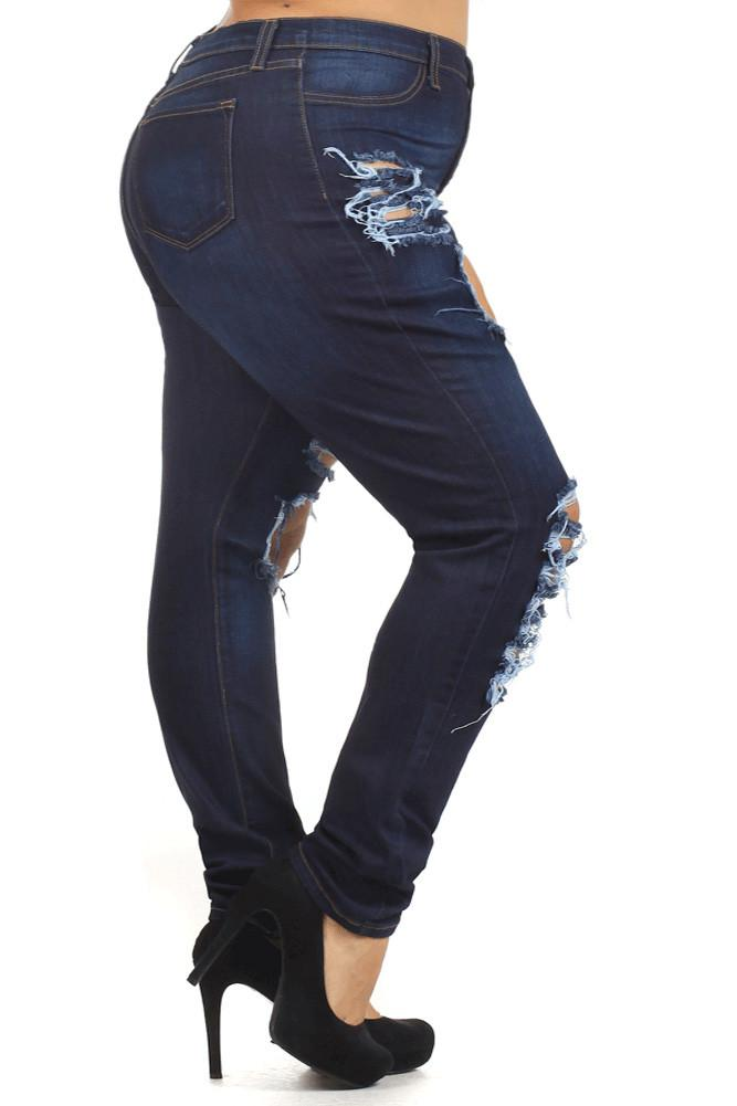 Plus Size Let's Rock High Waist Slashed Denim Jeans