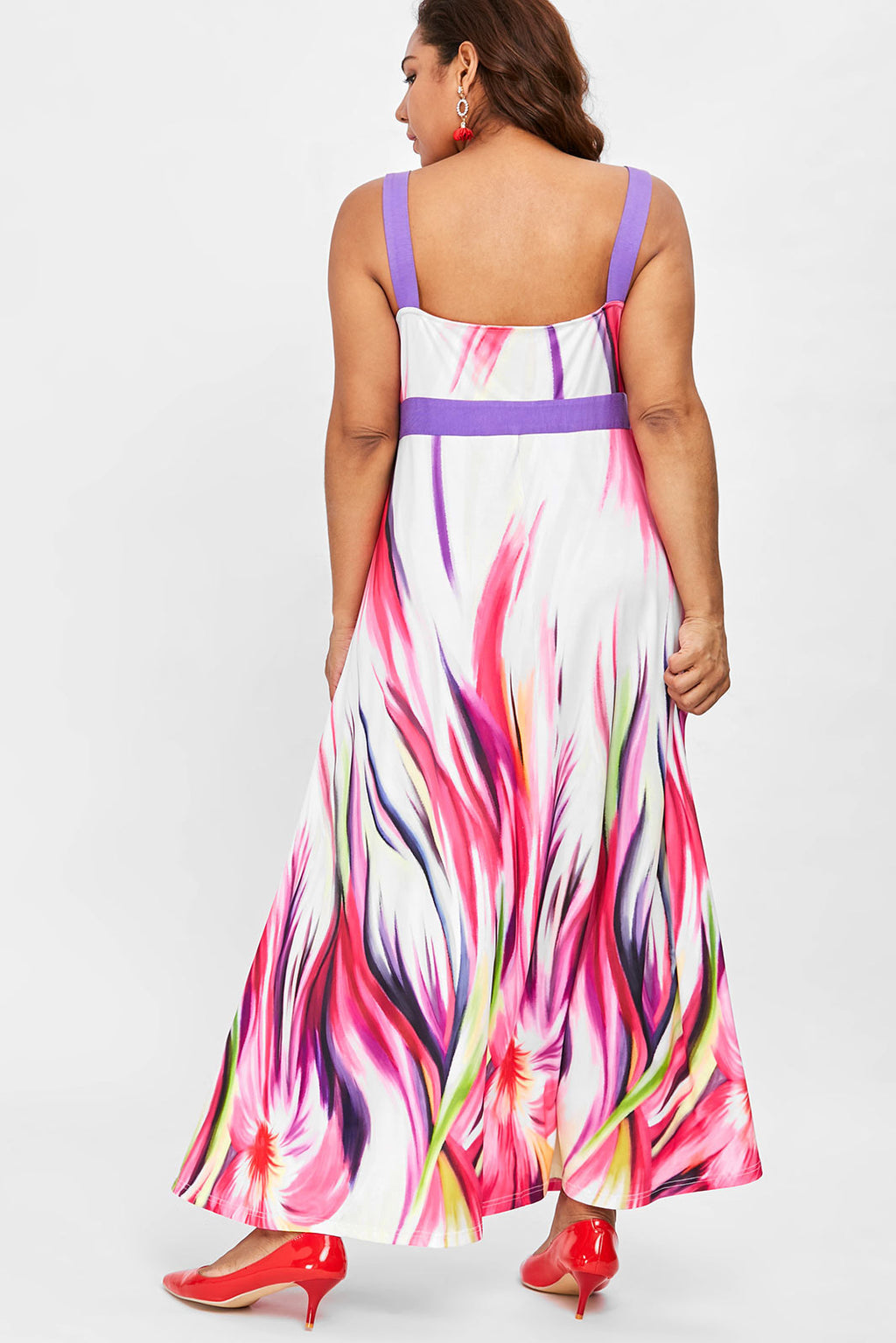 Plus Size Vibrant Colorful Plunging Neck Sleeveless Maxi Dress