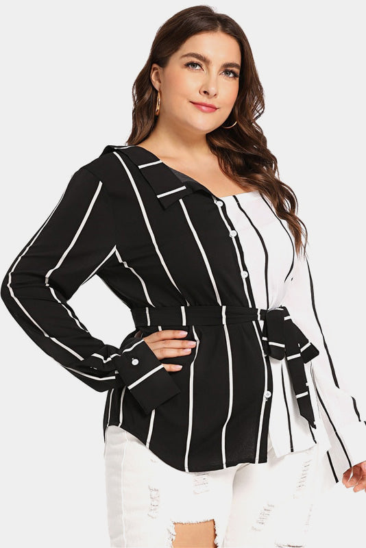 Plus Size High Mod Striped Open Shoulder Blouse Top