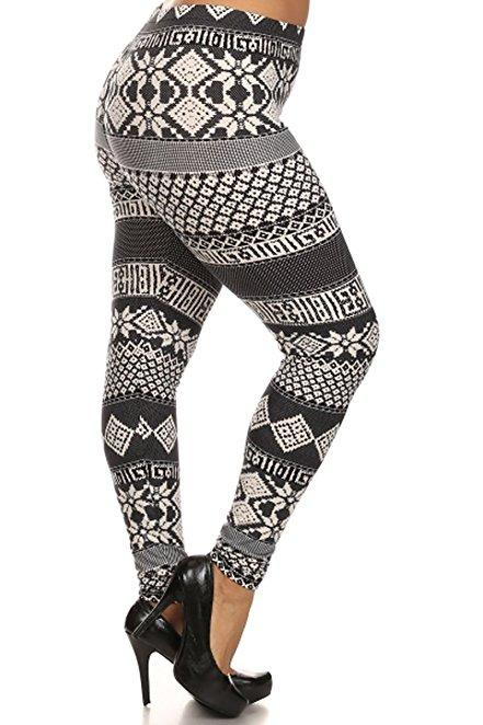Plus Size Women Soft Tribal Art Print Leggings