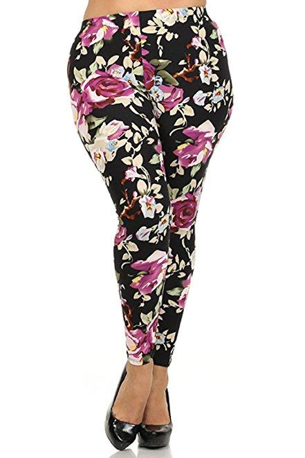 Plus Size Women Soft Violet Foral Print Leggings