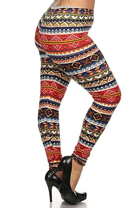 Plus Size Women Soft Seasons Greetings Print Leggings