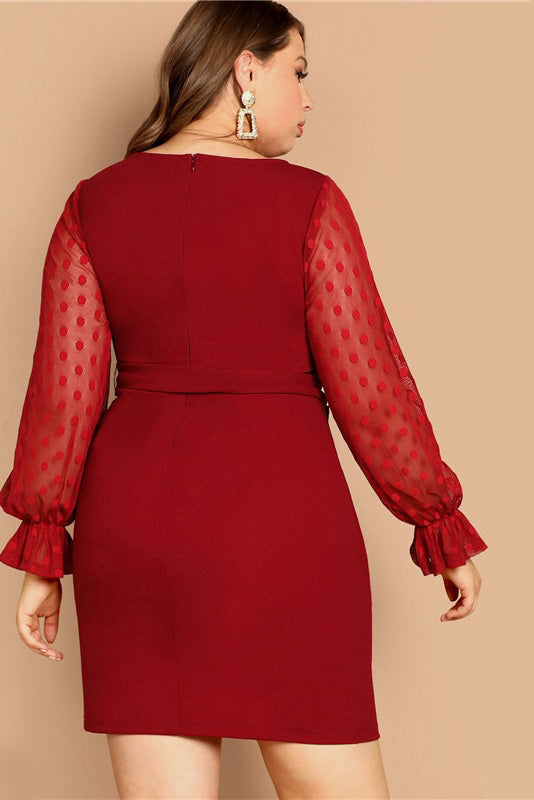 Plus Size Enticing Mesh Dots Long Sleeve Ribbon Waist Dress