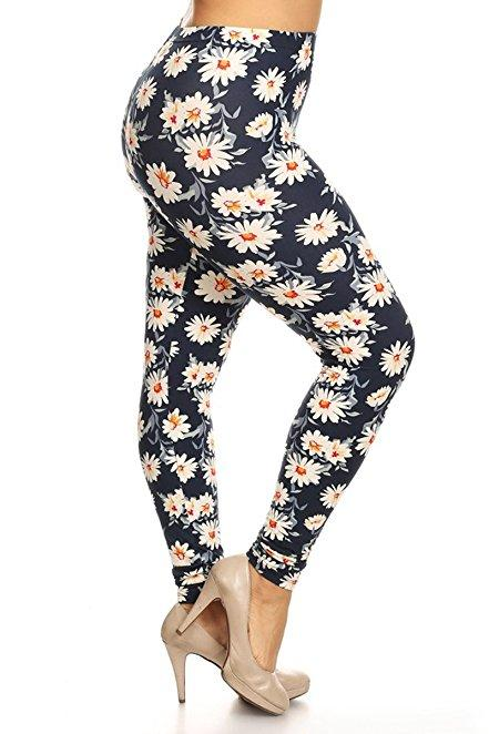 Plus Size Women Soft Fancy Daisies Print Leggings