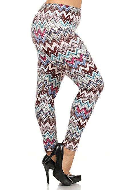 Plus Size Women Soft Tribal Pastel Print Leggings