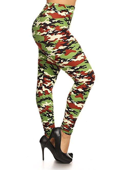 Plus Size Women Soft Battlefield Print Leggings