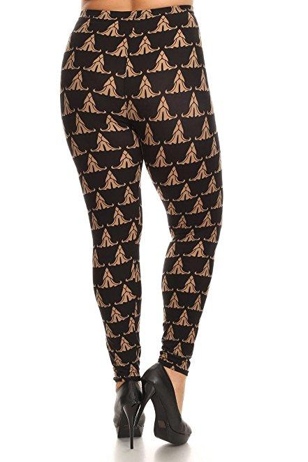 Plus Size Women Soft Bronze Print Leggings