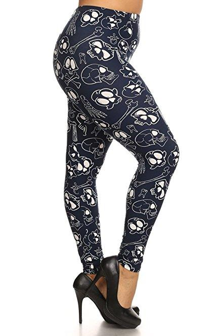 Plus Size Women Soft Skull Bone Print Leggings