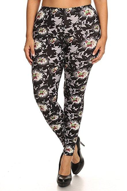 Plus Size Women Soft White Flower Print Leggings
