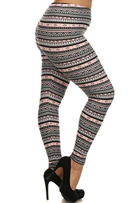Plus Size Women Soft Tribal Light Pink Print Leggings
