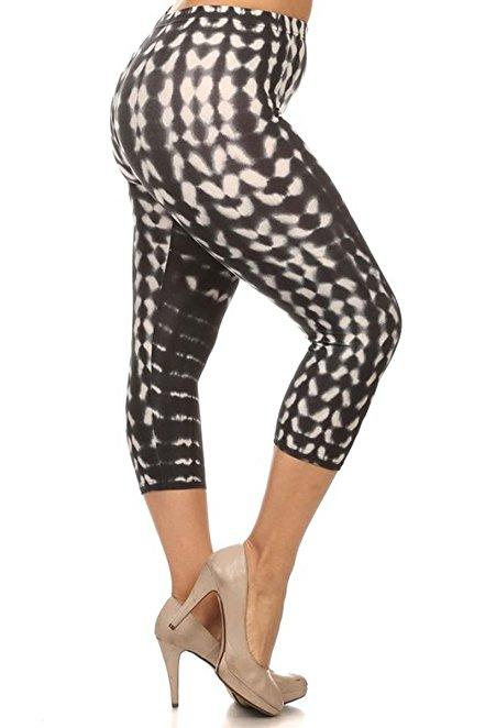 Plus Size Women Soft Black and White Tie Dye Print Leggings