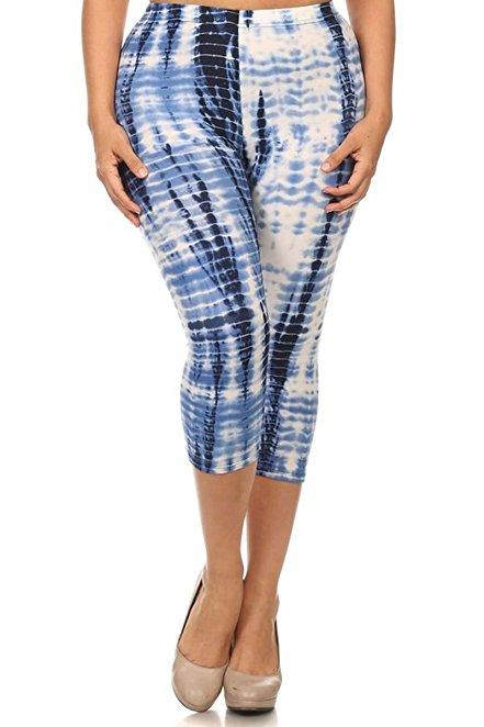 Plus Size Women Soft Frost White Tie Dye Print Leggings