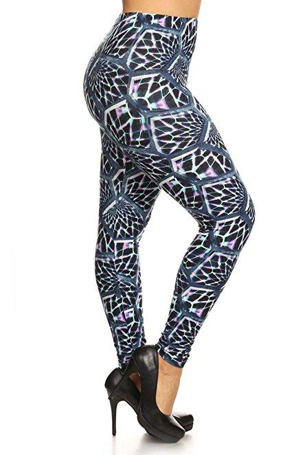 Plus Size Women Soft Prism Glass Print Leggings