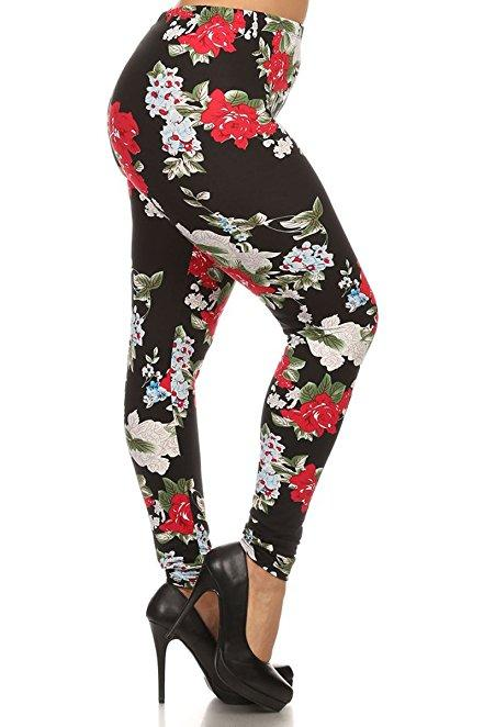 Plus Size Women Soft Tea Rose Print Leggings