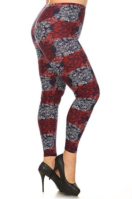 Plus Size Women Soft Cherry Allure Print Leggings