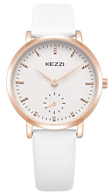 Watches For Women Brown Leather Strap with Small Dial Rose Gold Stainless Steel Case