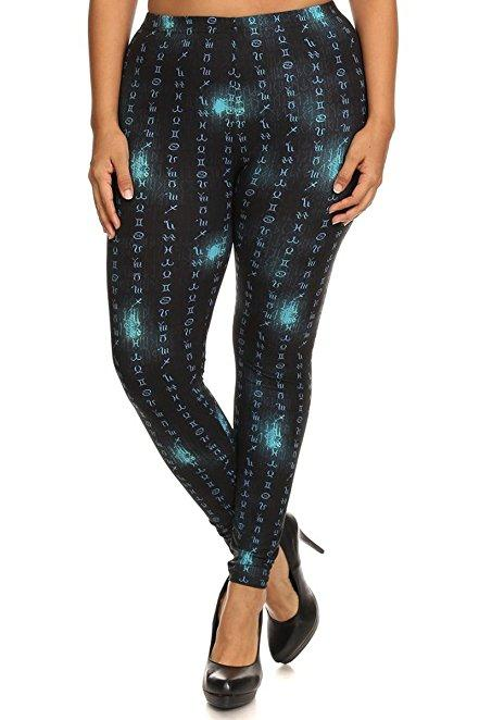 Plus Size Women Soft Astrological Signs Print Leggings