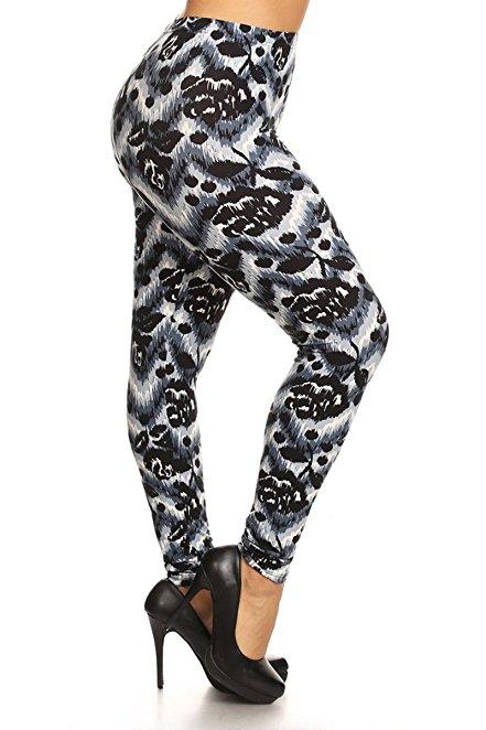 Plus Size Women Soft Black Grandeur Print Leggings