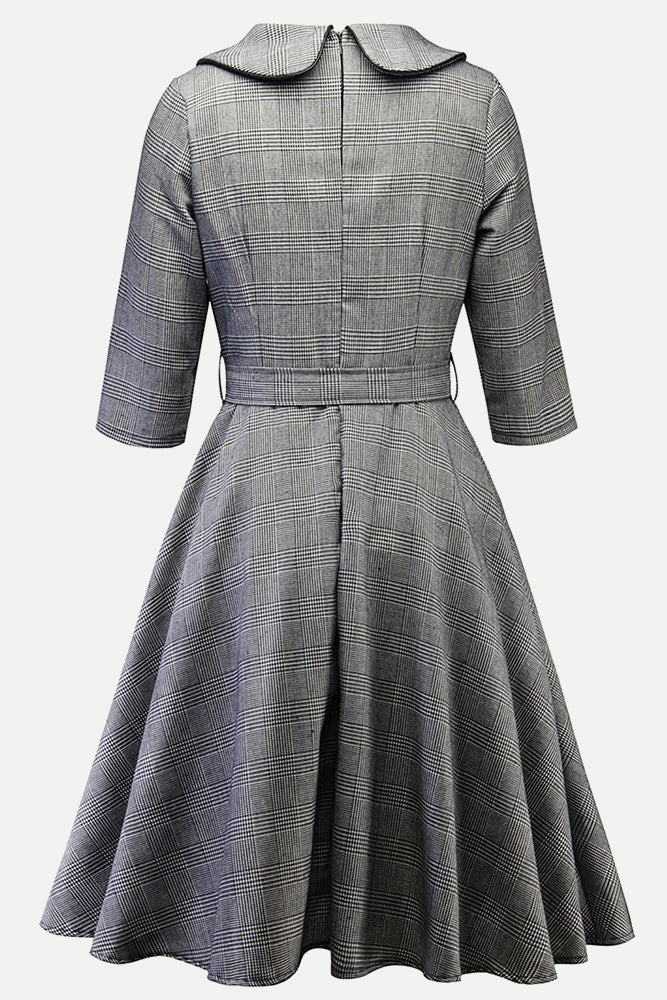 Plus Size Vintage Retro Checked A Line Dress