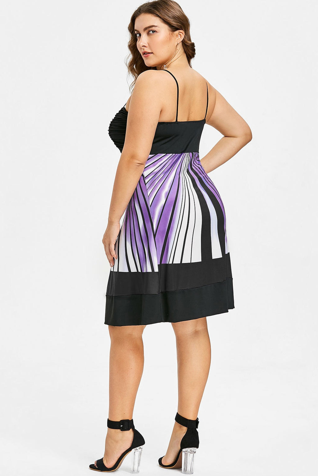 Plus Size Vibrant Ruched Spaghetti Strap Cocktail Dress
