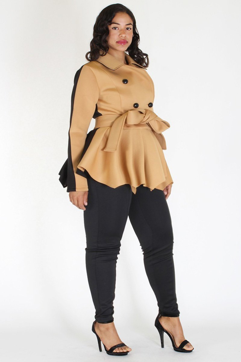 Plus Size Chic Double Breast Peplum Jacket