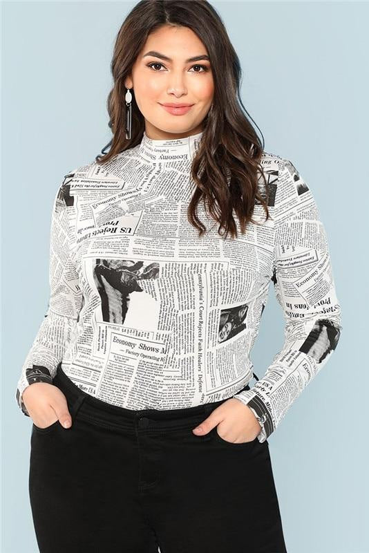 Plus Size Trendy Print Graphic Stand Collar Long Sleeve Top