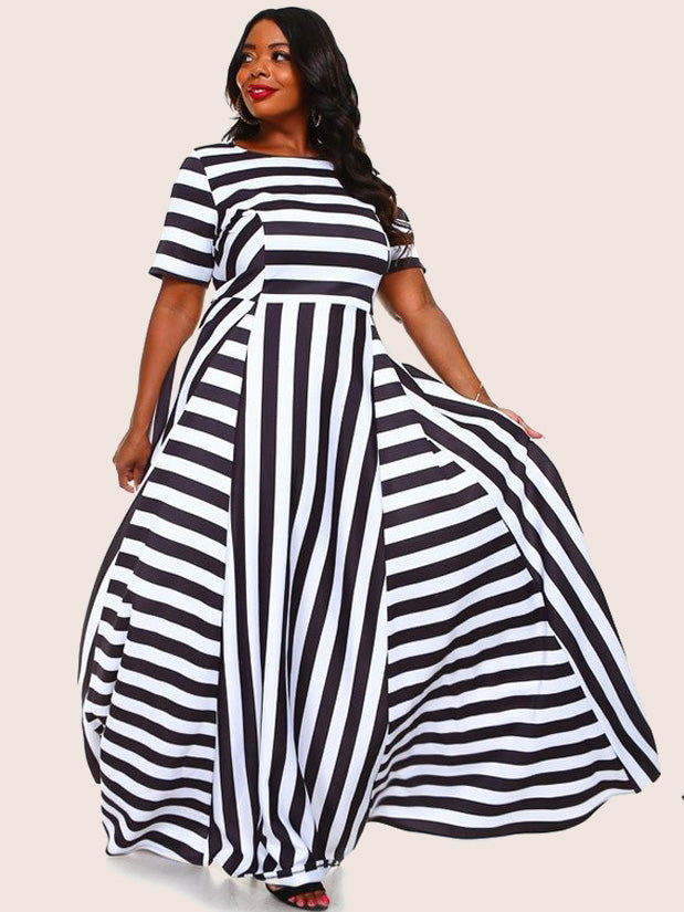 b0e9626c6b Plus Size Glam Multi Stripe Maxi Scuba Dress – slayboo