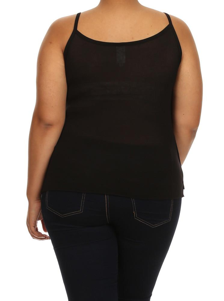 Plus Size Hanky Hem Ruffled Layers Black Top