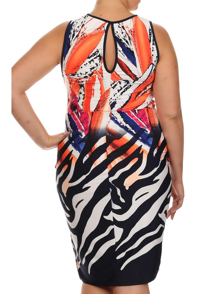 Plus Size Tropical Princess Front Knot Orange Dress