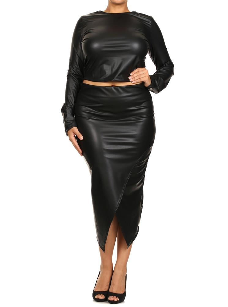Plus Size Long Sleeve Crop Top Black Skirt Set