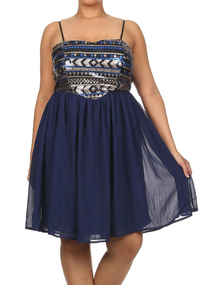 Plus Size Sweetheart Sequin Babydoll Royal Blue Dress