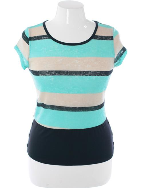 Plus Size Trendy Cadet Striped Green Blouse