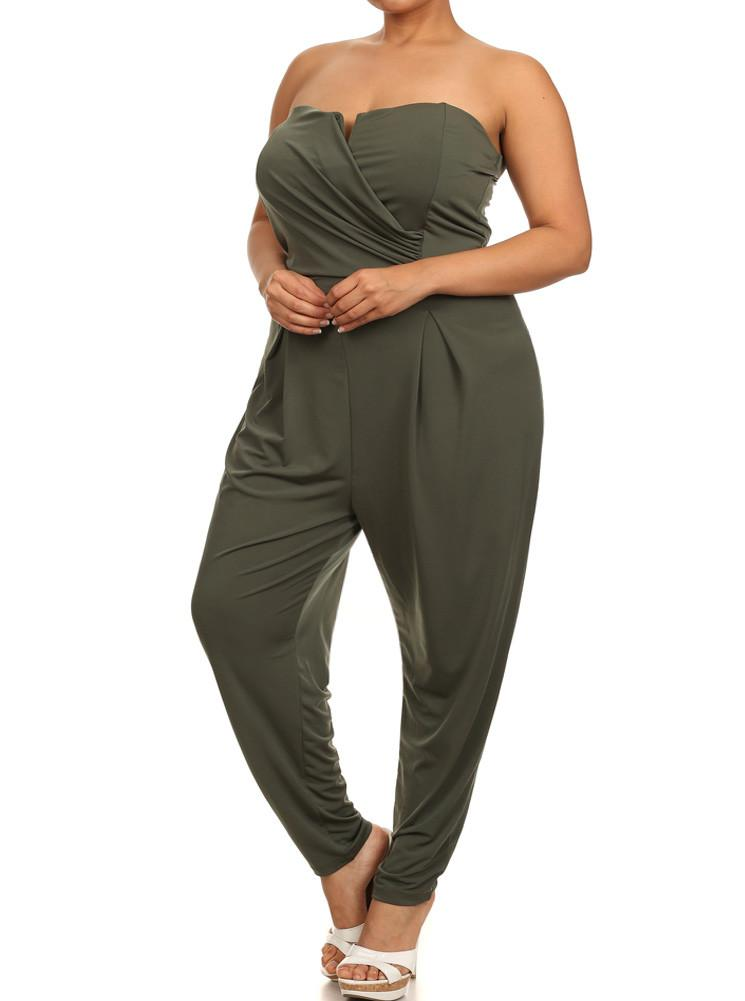 Plus Size Strapless Cross Over Olive Jumpsuit