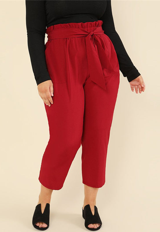 Plus Size Burgundy Elegant Ruffle High Waist Trousers