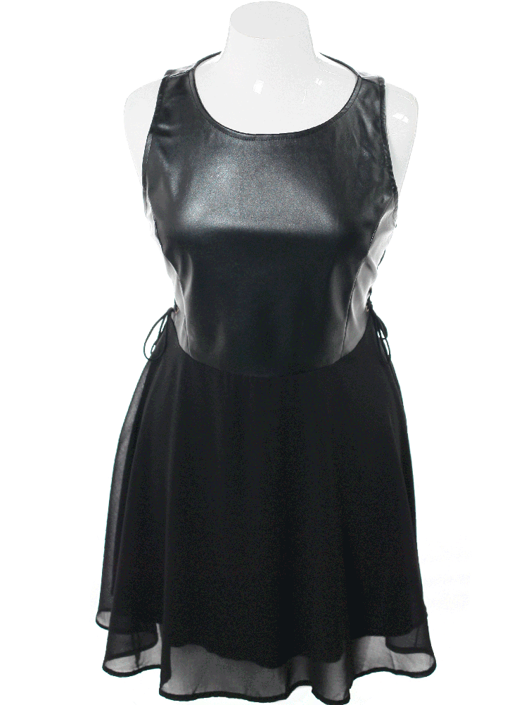Plus Size Bombshell Faux Leather Skater Dress