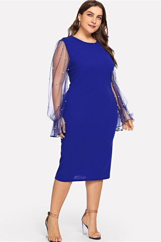e6799335263 Plus Size Pearl Beaded Mesh Ruffle Sleeve Bodycon Dress