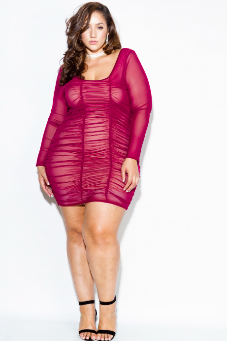 Plus Size Sexy Ruched See Through Mesh Dress Slayboo