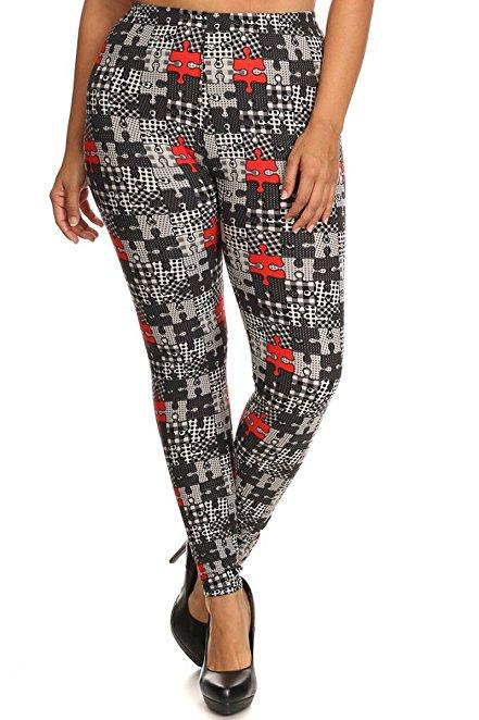 Plus Size Women Soft Puzzle Pieces Print Leggings