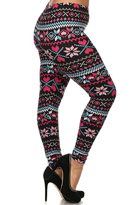 Plus Size Women Soft Christmas Pink Print Leggings