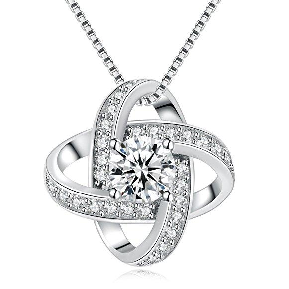 Sterling Silver S925 Crystal Pendant Necklace Cubic Zirconia Charm for Women Girls