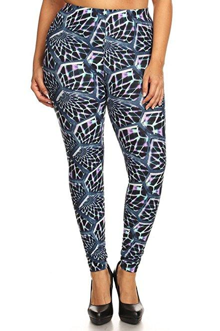 Plus Size Women Soft Hyponotic Print Leggings