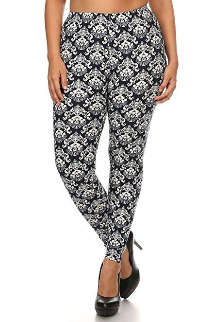 Plus Size Women Soft Crest Print Leggings
