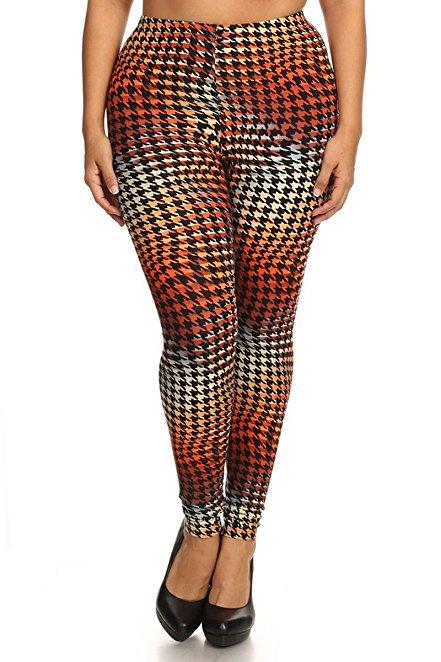 Plus Size Women Soft Marmalaid Houndstooth Print Leggings