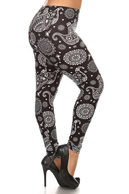 Plus Size Women Soft Elephant Mandala Print Leggings