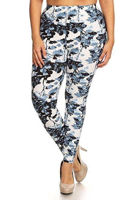 Plus Size Women Soft Blueberries Print Leggings