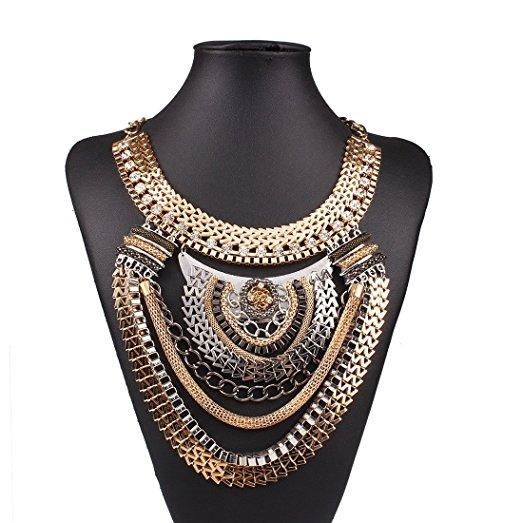Tribal Queen Colorful Multiple Chain Bib Choker Statement Collar Necklace
