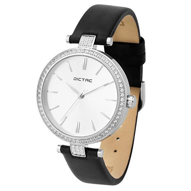 Women Lady Waterproof Analog Quartz Crystal Dial Clock Leather Wrist Watch