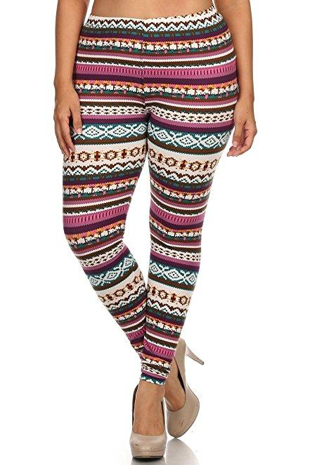 Plus Size Women Soft Tribal Pink Print Leggings