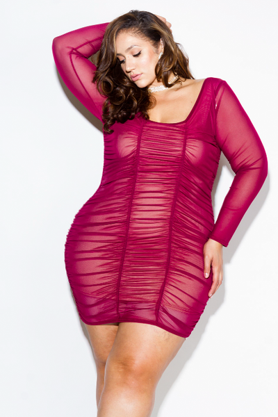 Plus Size Sexy Ruched See Through Mesh Dress – slayboo 8cf012752