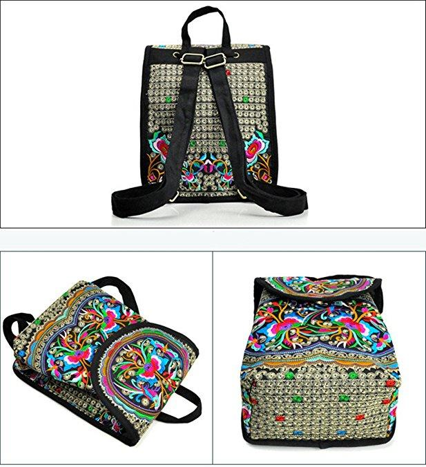 Vintage Embroidery Backpack Travel Handbag Shoulder Bag